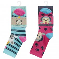 43B732: Girls 3 Pack Cotton Rich Design Ankle Socks (Assorted Sizes)