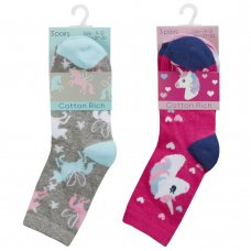 43B736: Girls 3 Pack Cotton Rich Design Ankle Socks (Assorted Sizes)