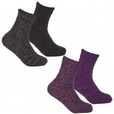 43B759: Girls 2 Pack Glitter Cosy Socks