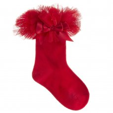 44B882: Baby Girls 1 Pair Tutu Frill Socks With Bow - Red