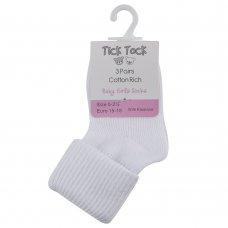 44B267: Baby 3 Pack Plain White Turn Over Socks