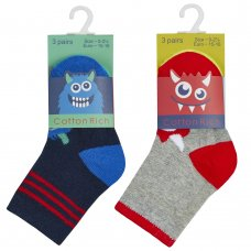 44B863: Baby Boys 3 Pack Cotton Rich Design Ankle Socks (Assorted Sizes)