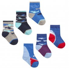 44B870: Baby Boys 3 Pack Cotton Rich Design Ankle Socks (Size 3-5.5 Only)