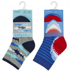 44B867: Baby Boys 3 Pack Cotton Rich Design Ankle Socks (Assorted Sizes)