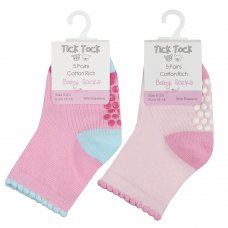 44B871: Baby Girls 5 Pack Heel & Toe Socks With Grippers (Assorted Sizes)