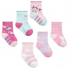 44B872: Baby Girls 3 Pack Cotton Rich Design Ankle Socks (Assorted Sizes)