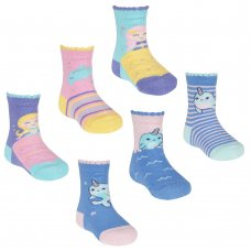 44B876: Baby Girls 3 Pack Cotton Rich Design Ankle Socks (Assorted Sizes)