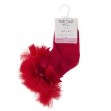 44B882: Baby Girls 1 Pair Tutu Frill Socks With Bow- Red