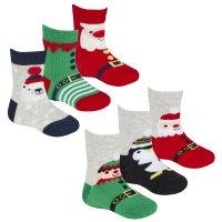 44B883: Baby Christmas 3 Pack Design Socks