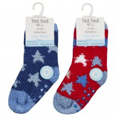44B884: Baby Boys 2 Pack Cosy Socks With Grippers