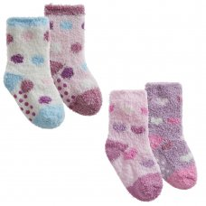 44B885: Baby Girls 2 Pack Cosy Socks With Grippers