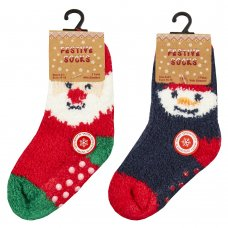 44B886: Baby Christmas 2 Pack Cosy Socks With Grippers