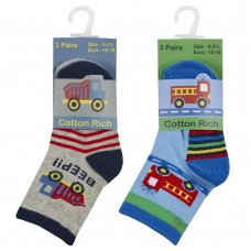 44B890: Baby Boys 3 Pack Cotton Rich Design Ankle Socks ( Size 3-5.5 Only)