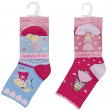 44B898: Baby Girls 3 Pack Cotton Rich Design Ankle Socks ( Size 3-5.5 Only)