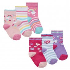 44B899: Baby Girls 3 Pack Cotton Rich Design Ankle Socks (Assorted Sizes)