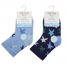 44B903: Baby Boys 1 Pair Lounge Socks With Grippers (Assorted Sizes)