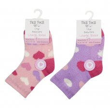 44B904: Baby Girls 1 Pair Lounge Socks With Grippers (Assorted Sizes)