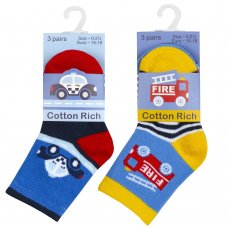 44B915: Baby Boys 3 Pack Cotton Rich Design Ankle Socks (Assorted Sizes)