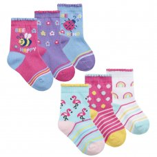 44B923: Baby Girls 3 Pack Cotton Rich Design Ankle Socks (Assorted Sizes)