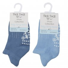 44B927: Baby Boys 3 Pack Terry Trainer Liner Socks With Grippers