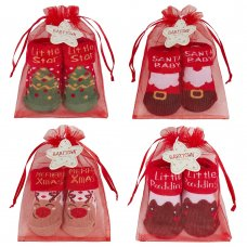 44B933: Baby Christmas Organza Bag Gift Socks (0-12 Months)