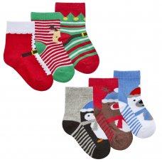 44B934: Baby Christmas 3 Pack Design Socks