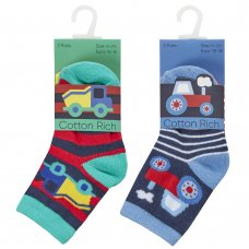 44B935: Baby Boys 3 Pack Cotton Rich Design Ankle Socks (Assorted Sizes)
