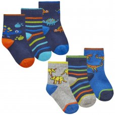 44B939: Baby Boys 3 Pack Cotton Rich Design Ankle Socks (Assorted Sizes)