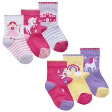 44B943: Baby Girls 3 Pack Cotton Rich Design Ankle Socks (Assorted Sizes)
