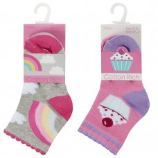 44B947: Baby Girls 3 Pack Cotton Rich Design Ankle Socks (Assorted Sizes)