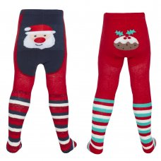 45B142: Baby Christmas Patch Panel Design Tights (0-24 Months)