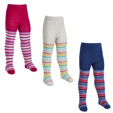 45B143: Babies 1 Pair Assorted Stripe Design Tights (0-24 Months)