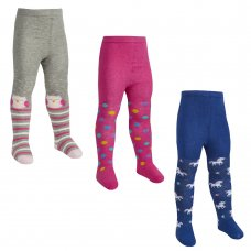 45B144: Babies 1 Pair Assorted Design Tights (0-24 Months)