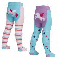 45B145: Babies Unicorn Patch Panel Tights with Grippers (0-24 Months)