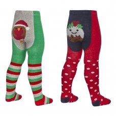 45B147: Baby Christmas Patch Panel Design Tights (0-24 Months)