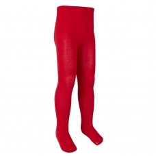 46B304: Girls Plain Red Cotton Rich Tights (2-10 Years)