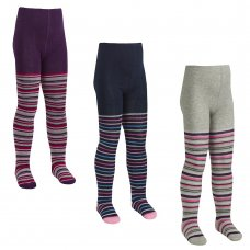 46B518: Girls Assorted Stripe Design Tights (2-8 Years)