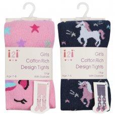 46B519: Girls Assorted Unicorn Design Tights (2-8 Years)