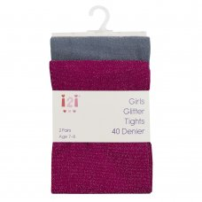 46B525: Girls 2 Pack 40 Denier Glitter Tights (3-12 Years)