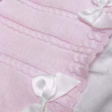 MC702-Pink: Baby Cotton Knit 2 Piece Set With Double Bows (0-9 Months)