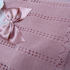 MC706-Dusky Pink: Baby Bow & Lace Knitted 2 Piece Set (0-9 Months)