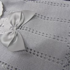 MC706-Grey: Baby Bow & Lace Knitted 2 Piece Set (0-9 Months)