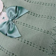 MC706-Sage: Baby Bow & Lace Knitted 2 Piece Set (0-9 Months)