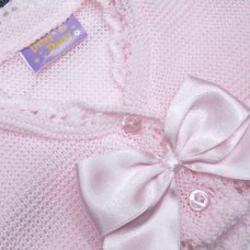 MC710B: Baby Girls Knitted Bolero Cardigan With Bow (9-24 Months)