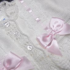MC715A: Baby Girls Knitted Bolero Cardigan With Bows & Lace (0-9 Months)