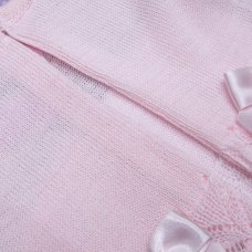MC717-Pink: Baby Girls Knitted Cardigan With Bows (0-9 Months)