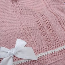 MC727-Dusky Pink: Baby Knitted 2 Piece Set With Double Bows (0-9 Months)