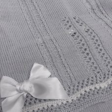 MC727-Grey: Baby Knitted 2 Piece Set With Double Bows (0-9 Months)
