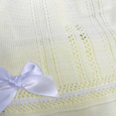 MC727-Lemon: Baby Knitted 2 Piece Set With Double Bows (0-9 Months)