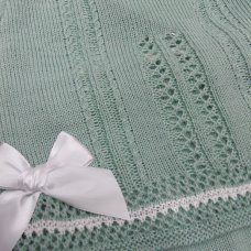 MC727-Sage: Baby Knitted 2 Piece Set With Double Bows (0-9 Months)